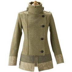 Plain Turn-down Collar Long Sleeve Tweed Winter Coat | Women's ...