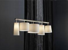 Hängeleuchte, moderne Pendelleuchte mit fünf Lampenschirmen, Farbe weiß - Vorschau 1
