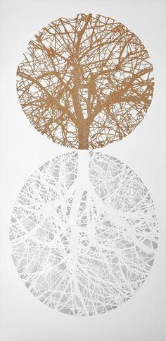 YGGDRASIL Xilografía y perforaciones en el papel 50 x 100 cm. 2012 Eva Santin