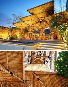 Architectural bamboo - bamboo umbrellas at a Japanese restaurant, Jakarta, Indonesia Bamboo Architecture, Sustainable Architecture, Architecture Design, Vernacular Architecture, Bamboo Bamboo, Bamboo House, Giant Bamboo, Bamboo Building, Bamboo Structure