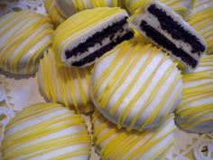 Spring Yellow Chocolate Covered Oreos Cookies You Are My Sunshine Baby Shower Wedding Favors Yellow Party Favors. $16.00, via Etsy.