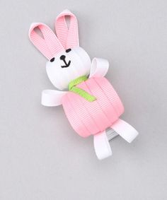 Ribbon Sculpture: Pink & White Round-Bellied Bunny | $5.99 on Zulily