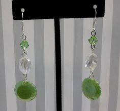 Green & Clear Dangle Earrings by CinnamonCreations14 on Etsy