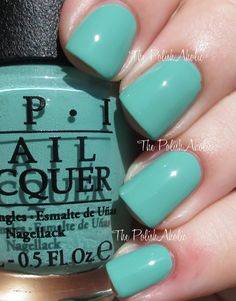 "OPI's ""My Dogsled is a Hybrid"" from its Fall 2014 Nordic Collection. A nice creamy sea foam and mint green. Fun splash of color this fall!"