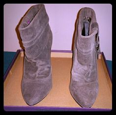 Great Jessica Simpson boots size 6.5 In great shape. Material is like a suede leather that's why the pics look that way but it's in excellent condition. Grey in color. Jessica Simpson Shoes Ankle Boots & Booties