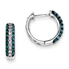 14k White Gold White Blue Diamond Hinged Hoop Earrings