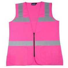 Girl Power At Work S721 M Non-ANSI Women s Fitted Poly Tricot Hi Viz Pink  Vest-61910 e247305be75f