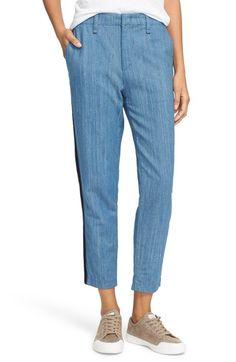 rag & bone/JEAN High Rise Cotton Linen Crop Pants (Denim)