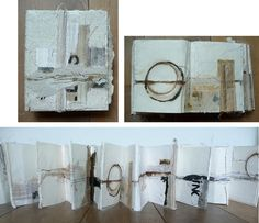 This, a concertina folded book has ten pages in mixed media include handmade paper, machined embroidered fabrics, ink, silkpaper and cardboard. Handmade Journals, Handmade Books, Handmade Art, Artist Journal, Book Journal, Paper Book, Paper Art, Best Books For Kindergarteners, Concertina Book