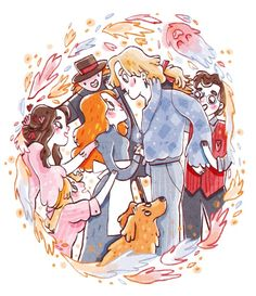 """""""If Sophie or Howl had had any attention to spare, they might had noticed that Prince Justin, Wizard Suliman, and Mrs. Fairfax were all trying to speak to Howl, and that Fanny, Martha, and Lettie were all plucking at Sophie's sleeves, while Michael was dragging at Howl's jacket. (…) But Sophie and Howl were holding one another's hands and smiling and smiling, quite unable to stop. """"Don't bother me now,"""" said Howl."""""""