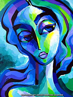 Expression in Blue and Green abstract original painting by artist Martina Shapiro, contemporary female fine · Portrait PaintingsCanvas ...