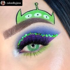 alien makeup [New] The 10 Best Makeup Ideas Today (with Pictures) - TOY STORY 4 ! so beautiful girl thank you Posted Toy Story I havent seen the new Makeup Eye Looks, Eye Makeup Art, Crazy Makeup, Cute Makeup, Fairy Makeup, Alien Halloween Makeup, Clown Makeup, Maquillage Halloween, Alien Makeup Ideas