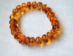 Genuine Baltic Amber Bracelet Elastic Amber by AmberGiftLT on Etsy