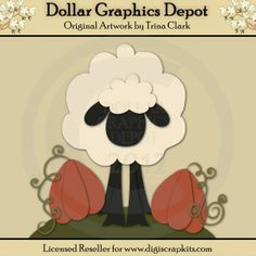Autumn Sheep 2 - Cutting Files / Paper Piecing Patterns by Trina Clark - Dollar Graphics Depot: Quality Graphics, Printable Crafts, Scrapbooking, Cutting Files, Digital Stamps, and more - $1.00