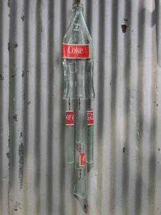 Wind chime, slumped bottle wind chime, flattened bottle, vintage coca cola bottle on Etsy, $27.00
