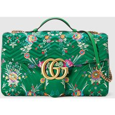 Gucci Gg Marmont Maxi Floral Jacquard Shoulder Bag ($3,100) ❤ liked on Polyvore featuring bags, handbags, shoulder bags, green purse, top handle handbags, oversized purses, gucci shoulder bag and shoulder handbags