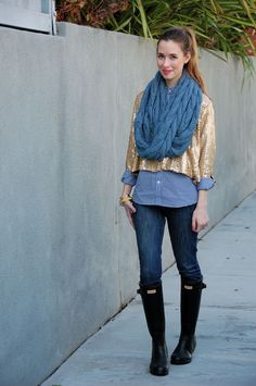 button up J.Crew, pants Urban Outfitters, sequin jacket Baby Phat, rainboots Hunter, scarf Tulle