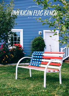 DIY: How to Paint an American Flag Bench - Bright Bazaar by Will Taylor Diy Art Projects, Outdoor Projects, Memorial Day, Painted Benches, Farmhouse Dining Chairs, Diy Bench, Outdoor Chairs, Outdoor Decor, Wooden Slats