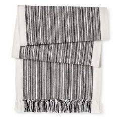 Target Threshold Variegated Stripe Table Runner   Black White New 72 x 14 #Threshold