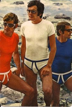 """REAL Men Always go to the Beach in their HANES Underwear"", uhmm, okay? 60s And 70s Fashion, Retro Fashion, Vintage Fashion, Mens Fashion, Men's Underwear, Vintage Underwear, Men's Undies, Look Vintage, Vintage Mode"
