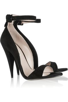 Cone heel measures approximately 115mm/ 4.5 inches Black suede Buckle-fastening ankle strap, zip fastening along back