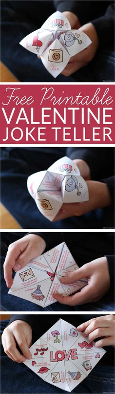 Great non-candy Valentine idea! Hilarious fortune teller (cootie catcher) filled with silly Valentine jokes. Get your free printable Valentine Joke Teller for kids parties, Valentine gifts, and lunch box presents. Easy Valentines for Kids. Valentines for Biys