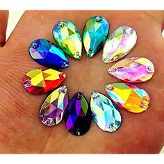 MajorCrafts® Crystal AB Flat Back Tear Drop Sew On Acrylic Rhinestones Acrylic Gems, Acrylic Colors, Faceted Glass, Faceted Crystal, Unicorn Costume, Large Crystals, Beaded Embroidery, Color Mixing, Beads