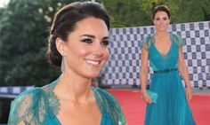 Sheer beauty: The Duchess of Cambridge looks stunning in daring teal dress gown and elaborate updo at London Olympic gala