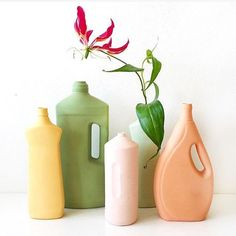 The colorful bottle vase project by Dutch Designer Foekje Fleur, is spreading awareness on the problem of plastic soup. The colored bisque porcelain vases are hand made replicas of plastic trash found all over the world. They can be mixed and matched to look good in both modern and classic decor and are lovely with some dried flowers or just a few fresh flowers from the garden. #homedecor #porcelain #flowervase #decor #design Bottle Vase, Spring Colors, Pretty Pictures, Porcelain, Mint, Home Decor, Cute Pics, Porcelain Ceramics, Decoration Home