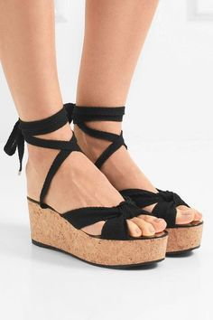 6ccb7e393497 JIMMY CHOO Classy Norah 70 knotted canvas wedge sandals New York Fashion