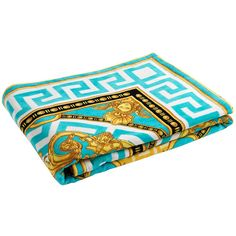 Versace Beach Towel - Turquoise/White/Gold ($575) ❤ liked on Polyvore featuring home, bed & bath, bath, beach towels, blue, versace, white beach towel and blue beach towel