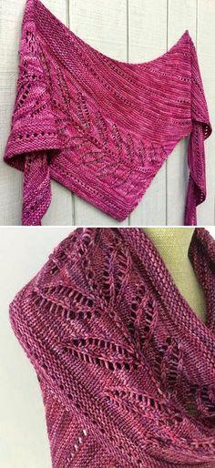 Freie Strickmuster – Ponchos, Stolas & Co Silverleaf - Knitting Pattern Knit Cowl, Knitted Shawls, Crochet Scarves, Crochet Shawl, Knit Crochet, Chunky Knitting Patterns, Shawl Patterns, Lace Knitting, Knitting Socks