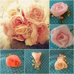 Fabric flowers..    This may be for a wedding bouquet but I think this is a great fabric flower project that can be used for a little girls room. Girl Baby Shower, or other cute décor.