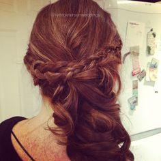 Hair round the side wedding hair