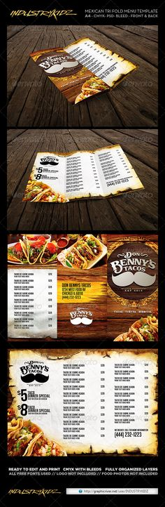 Trifold Mexican Menu Template — Photoshop PSD #modern menu #restaurant • Available here → https://graphicriver.net/item/trifold-mexican-menu-template/6745168?ref=pxcr