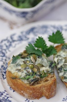 Nettle & blue cheese sandwitches.  In Lithuanian