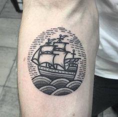 Circular Ship Tattoo by Mark Jelliman
