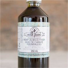 Hemp Oil.This solvent-free oil finish provides a protective, water-resistant surface.  Use on new wood that is bare, stained Milk-painted or to revive old wood finishes.  It penetrates to protect from the inside out.  Does not leave a surface film that will chip or scratch.  This food-safe oil finish is perfect for use in the kitchen on wood or stone.  Used outside, it can restore the luster of old oil based paint or revitalize surfaces such as cast iron.