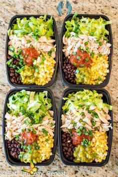 No-Cook Meal Prep Burrito Bowls -  These healthy meal prep burrito bowls can be made in 10 minutes and make a great clean eating lunch - #bowls #BudgetRecipes #burrito #CleanEatingMeals #HealthyMeals #Meal #NoCook #Prep<br> Easy Chicken Dinner Recipes, Healthy Pasta Recipes, Healthy Pastas, Healthy Meal Prep, Clean Eating Recipes, Lunch Recipes, Lunch Snacks, Health Recipes, Healthy Food