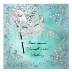 Teal Quinceanera 15th Birthday Tiara Masquerade Personalized Invitations