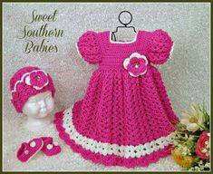 Crochet baby dress hat and sho