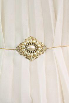 Rene -Vintage Golden Sash Belt , Antique Golden Filigree Flower,Ivory Pearls,Victorian,Wedding,Rhinestone, Jewelry, Antique Gold Chain. $79.00, via Etsy.