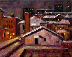 "Daily+Paintworks+-+""Winter+Night+оver+Ann+Arbor""+-+Original+Fine+Art+for+Sale+-+©+Irina+Beskina"