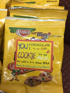 "Employee Appreciation gift idea:  ""You are the chocolate to our chip & cookie to our milk. We couldn't do it without you! Thanks for being a part of our team."" Used rainbow Keebler mini M&m chocolate chip cookies.  Could also be used as a gift for your significant other or BFF."