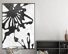 original minimalist painting, black and white abstract art, canvas art, large acrylic painting, modern art Contemporary Painting