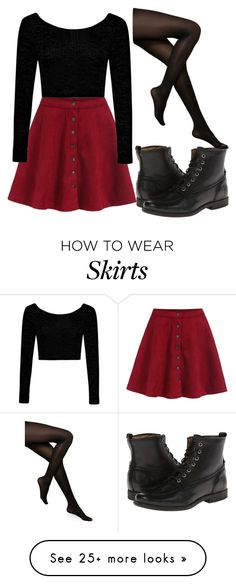 """Red Skirt"" by bubbly-bookworm on Polyvore featuring Boohoo, Kate Spade and Frye"