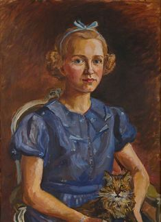 Girl with a Cat (Lady Rozelle) by Marie-Louise Roosevelt Pierrepont (1889–1984)