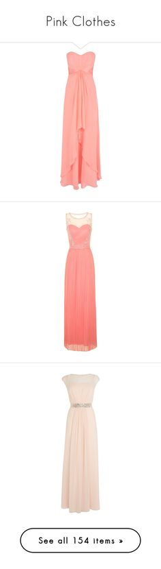 """Pink Clothes"" by carlou863 on Polyvore featuring dresses, gowns, long dresses, robes, vestidos, peach, long sleeve evening dresses, red evening dresses, empire waist maxi dress et long party dresses"
