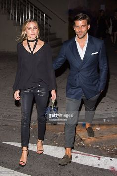 Olivia Palermo (L) and Johannes Huebl areseen in the Meatpacking District on September 12, 2016 in New York City.