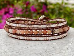 Bead Leather Wrap Bracelet - Womens Boho Bracelet - Chan Luu Style - Bead Bracelet - Beaded Wrap - Large Wrist Wrap - Stack - Bohemian Wrap by NeedsToBead on Etsy Handmade Beaded Jewelry, Custom Jewelry, Etsy Jewelry, Wrap Bracelets, Beaded Bracelets, Beaded Leather Wraps, Stone Beads, Chan Luu, Bohemian